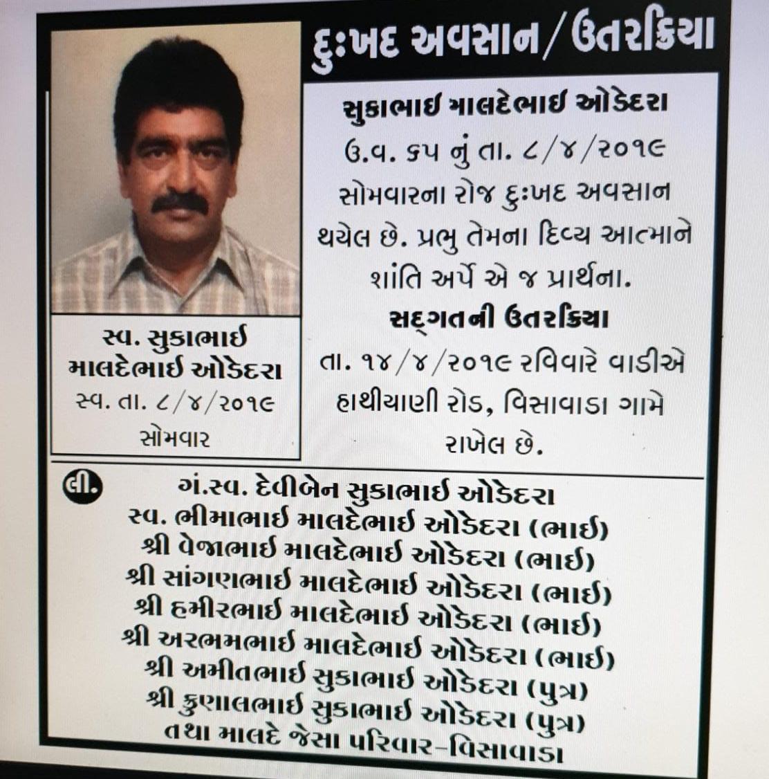 Sukabhai Maldebhai Odedra passed away (India)